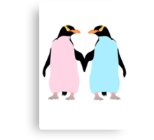 Pastel Penguins holding hands Canvas Print