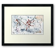 African Bushman Rock Paintings - Ethnic series Framed Print
