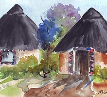 Ndebele huts by Maree  Clarkson
