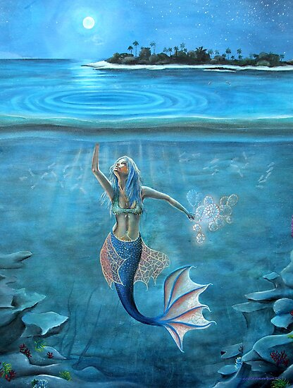 Mermaid collecting moonlight. by Tina-Renae
