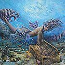 Mermaid and treasure chest by Tina-Renae