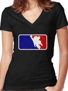 Mighty Mouse Baseball Women's Fitted V-Neck T-Shirt