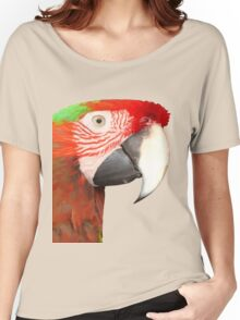 A Beautiful Bird Harlequin Macaw Portrait Background Removed Women's Relaxed Fit T-Shirt