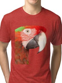 A Beautiful Bird Harlequin Macaw Portrait Background Removed Tri-blend T-Shirt