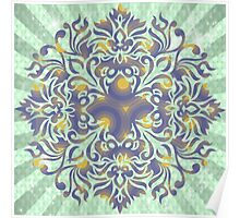 Beautiful,green,brown,abstract,floral,pattern,modern,digtal,vektor Poster