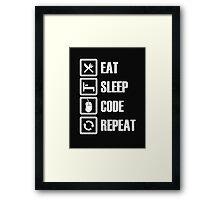 Eat Sleep Code Repeat - Tshirts & Hoodies Framed Print