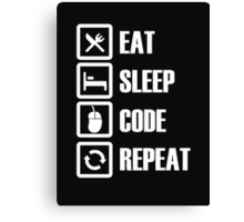 Eat Sleep Code Repeat - Tshirts & Hoodies Canvas Print