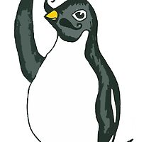 Penguin Waving with Moustache by drknice