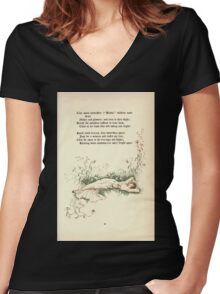The Old Garden and Other Verses by Margaret Deland and Wade Campbell, Illustrated by Walter Crane 1894 117 - Tiny White Butterflies Women's Fitted V-Neck T-Shirt