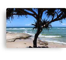 Splashing Waves at a Beach Paradise Canvas Print
