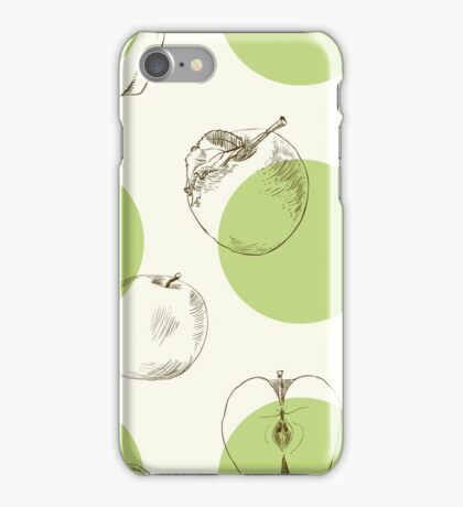 seamless pattern made of scattered decorative apples iPhone Case/Skin