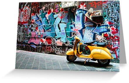 Yellow scooter in a Melbourne lane by Alexander Meysztowicz-Howen
