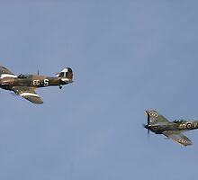 Spitfire and Hurricane. Coningsby, Lincolnshire by Merlin72