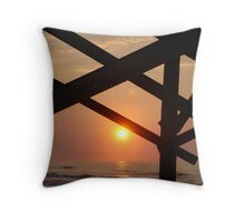 sunrise through the peir Throw Pillow