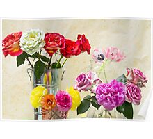 Symphony Of Rainbow Flowers Poster