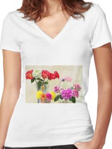 Symphony Of Rainbow Flowers Women's Fitted V-Neck T-Shirt