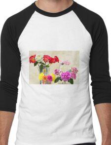 Symphony Of Rainbow Flowers Men's Baseball ¾ T-Shirt