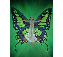 Art Nouveau Vintage Flapper With Butterfly Wings Photographic Print