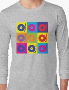 Vinyl Record Player Turntable Pop Art Long Sleeve T-Shirt
