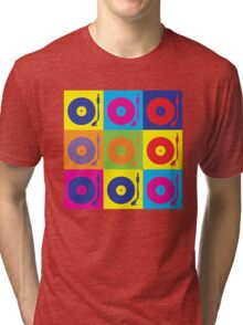 Vinyl Record Player Turntable Pop Art Tri-blend T-Shirt