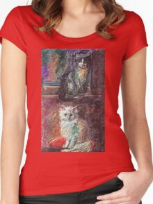 The Cats   My Creations Artistic Sculpture Relief fact Main 51  (c)(h) by Olao-Olavia / Women's Fitted Scoop T-Shirt