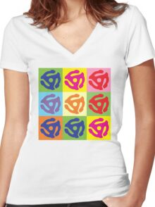 45 RPM Vinyl Record Player Pop Art Women's Fitted V-Neck T-Shirt