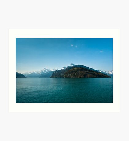 Mountains at lake Lucern Art Print