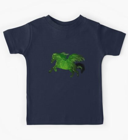 Green wing horse Kids Tee