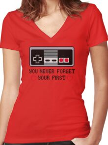 Never Forget Your First Nintendo Women's Fitted V-Neck T-Shirt