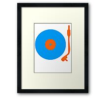 Blue Orange Vinyl Record Turntable Framed Print