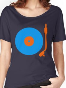 Blue Orange Vinyl Record Turntable Women's Relaxed Fit T-Shirt
