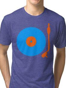 Blue Orange Vinyl Record Turntable Tri-blend T-Shirt