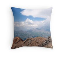 children looking over the alps Throw Pillow
