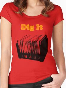Dig It Vinyl Record Crate Women's Fitted Scoop T-Shirt