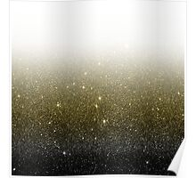 Black and Gold Faux Glitter Gradient Poster