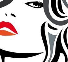 Woman vector hairstyle black design Sticker