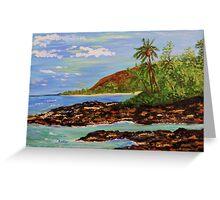 tropical paradise, palm trees, sandy beach, ocean Greeting Card