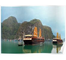 """Indochina Sails"" sailing the waters of Ha Long Bay, North Vietnam Poster"