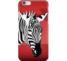 Zebra With a Dramatic Red Background iPhone Case/Skin