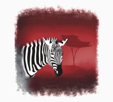 Zebra Against a Dramatic Red Background. T-Shirt
