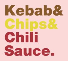 Kebab & Chips & Chili Sauce. Kids Clothes