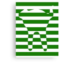 Green striped cat Canvas Print