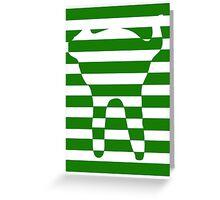Green striped cat Greeting Card