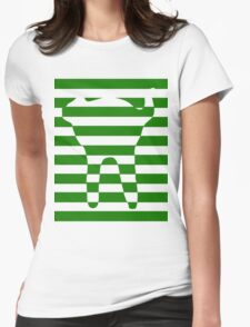 Green striped cat Womens Fitted T-Shirt