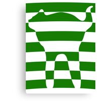 Green striped cat 2 Canvas Print