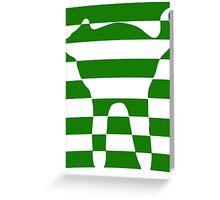 Green striped cat 2 Greeting Card