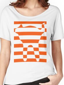 Orange striped cat 3 Women's Relaxed Fit T-Shirt