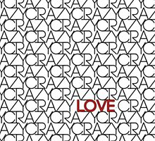 """""""Crazy, Love"""" Typography Pattern in Black White  by Blkstrawberry"""