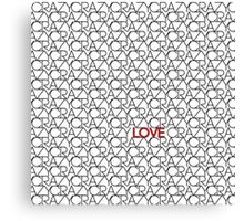 """""""Crazy, Love"""" Typography Pattern in Black White  Canvas Print"""