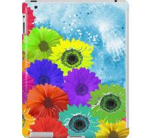 Bright Colorful Flowers on Blue Watercolor iPad Case/Skin